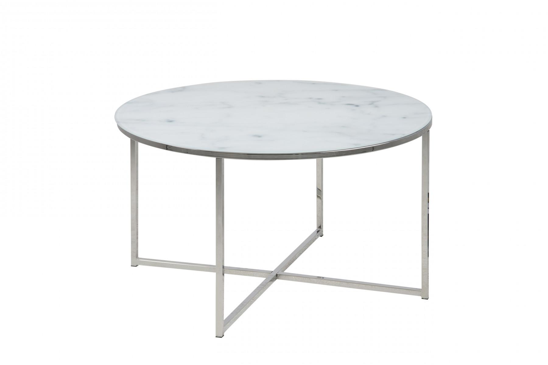 Rundt sofabord med marmor print. Bordplade i glas og stel i krom.