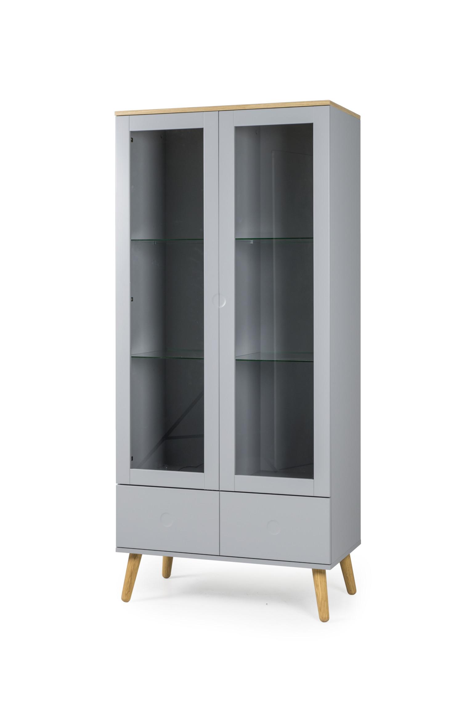 dot vitrine med 2 glasl ger og 2 ksuffer med topplade og ben i eg. Black Bedroom Furniture Sets. Home Design Ideas
