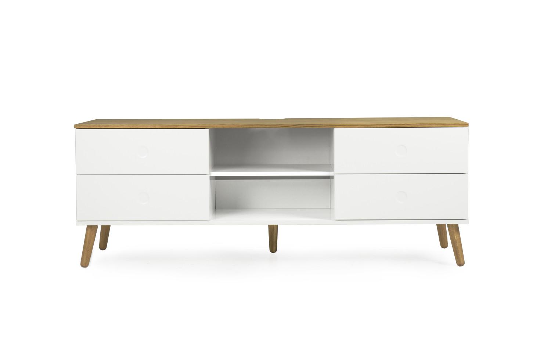 tv m bel med 4 skuffer og 2 hylder med topplade og ben i eg. Black Bedroom Furniture Sets. Home Design Ideas