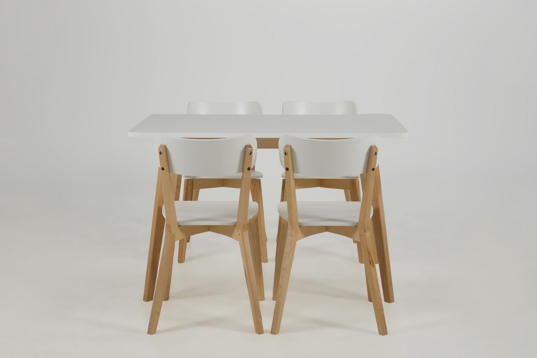 Spisebord med hvidlakeret bordplade og ben i birk.