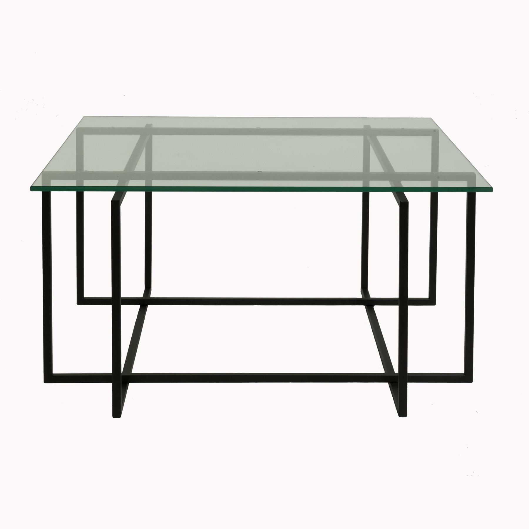 Elegant sofabord med sort pulverlakeret stålstel og bordplade i glas.