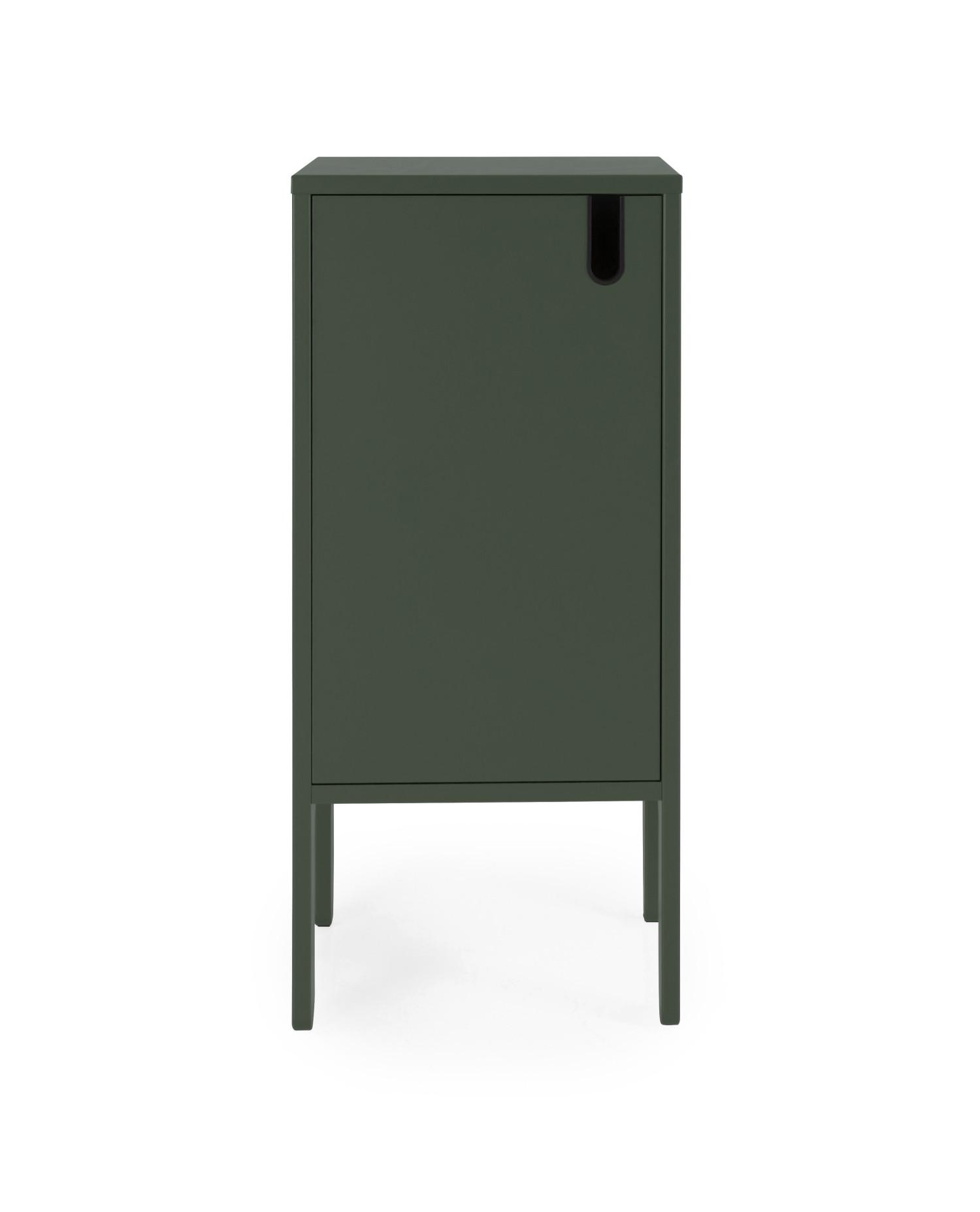 Meget Lille skab en grågrøn farve med 1 dør og 2 hylder. 40 cm bredt og TT15