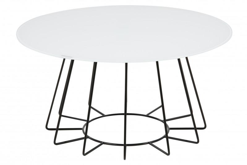 Catos Sofabord Hvidt glas og Sort Metal stel