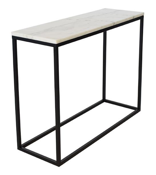 Smuk og estetisk konsolbord med lys marmor plade og stel i sortlakeret metal
