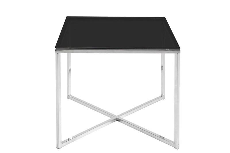Calvin Kvadratisk Hjørnebord i Sort Glas og Krom Stel