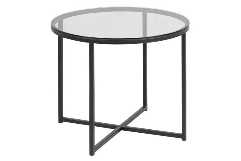 Calvin Rundt Hjørnebord i Glas og Sort Metal ø55