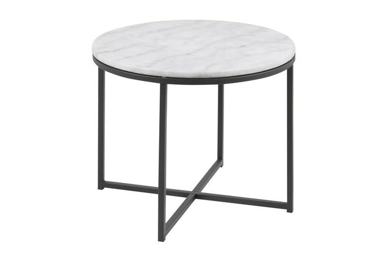 Calvin Rundt Hjørnebord i Hvis Marmorglas og Sort Metal