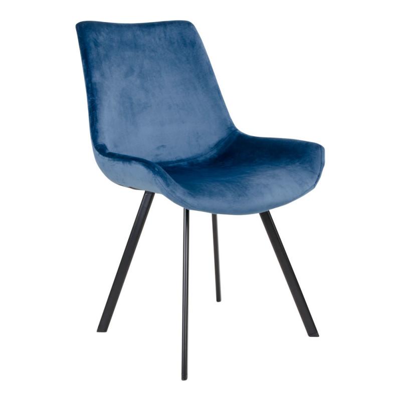 Darina Spisebordsstol Blå Velour og Sort Stel