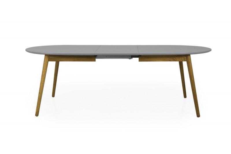 DOT Spisebord Ellipse Udtræk 180/230 Eg/Grå  med tillægsplade