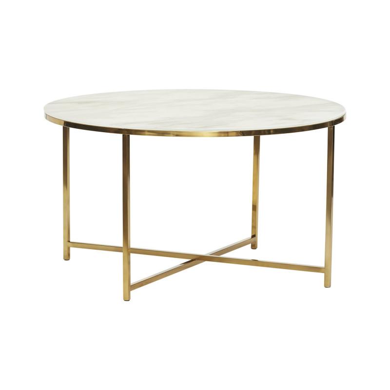 Hübsch Hvidt Sofabord i Glas og Messing