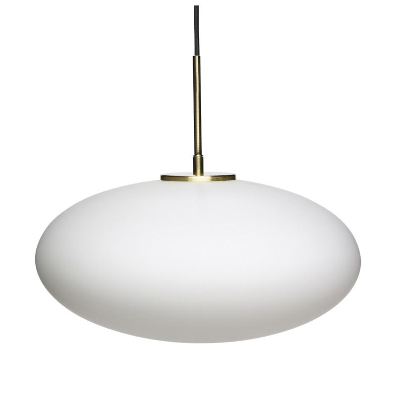 Hubsch Oval Loftslampe i Hvidt Opalglas og Messing