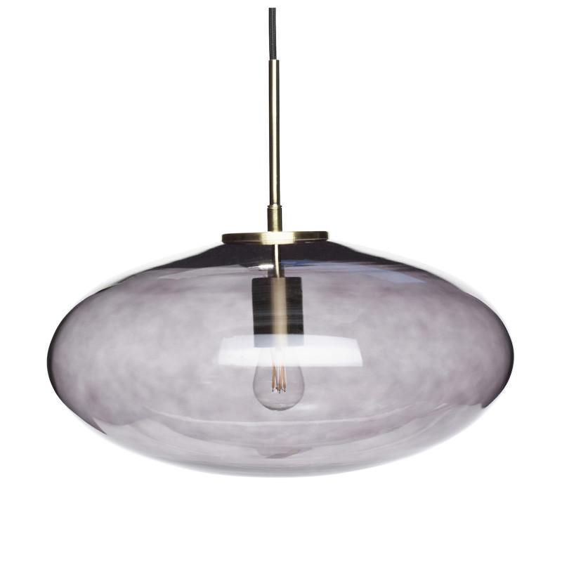 Hubsch Oval Loftslampe i Røget Lilla Glas og Messing