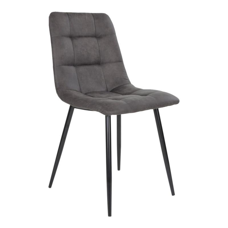Kansas Spisebordsstol i Mørkegråt Microfiber og Metal Ben