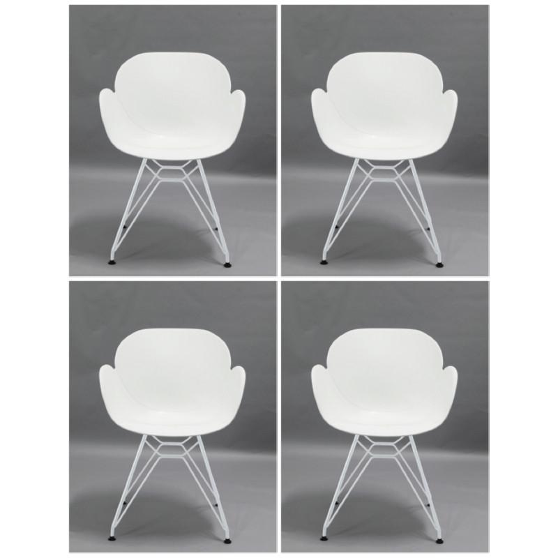 hvide stole Sættilbud 4 Lucca stole hvidt sæde og hvide metal ben. hvide stole
