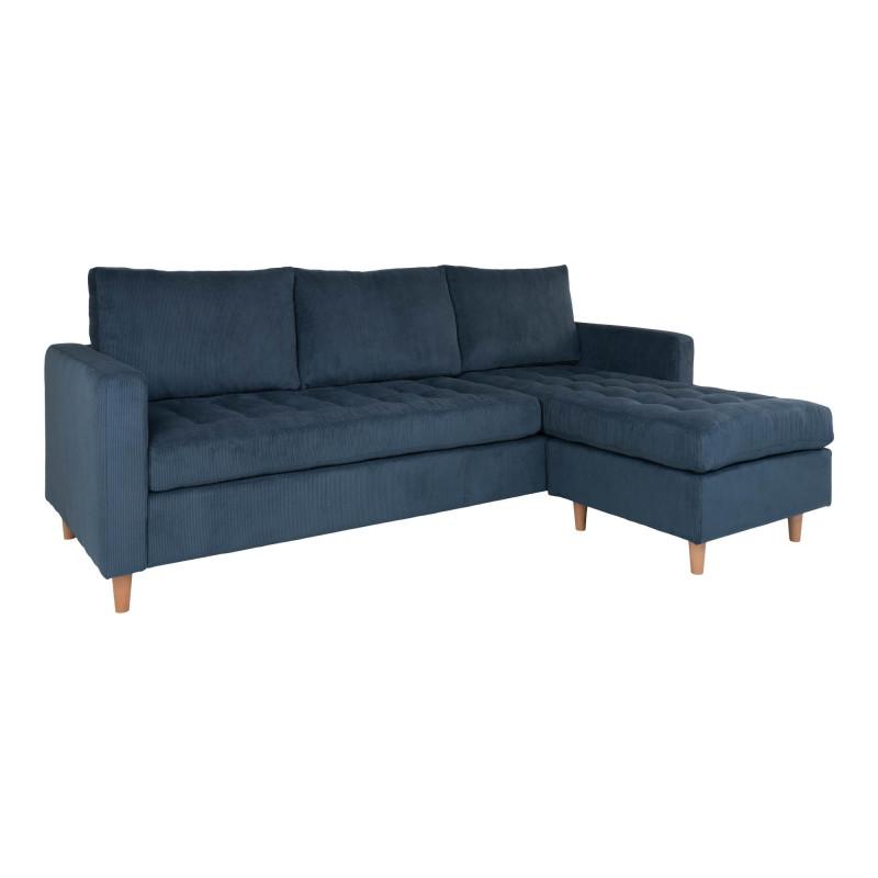 Ravello Chaiselong Sofa Blå Fløjl