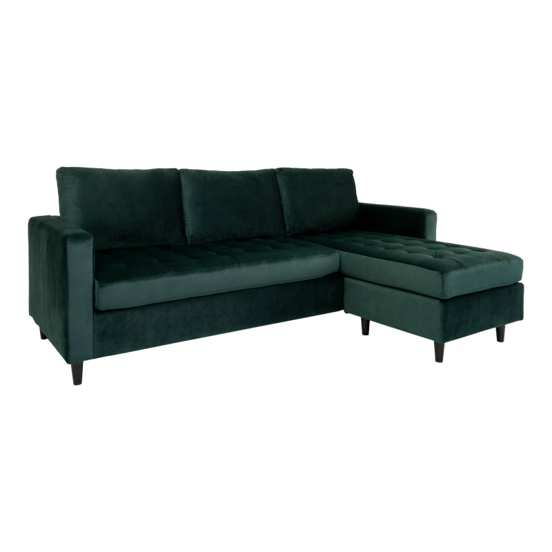 Ravello Chaiselong Sofa Mørkegrøn Velour