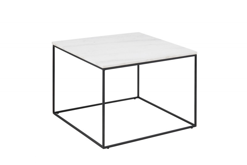 Trento Sofabord Hvid Marmor/Sort Metal 60x60