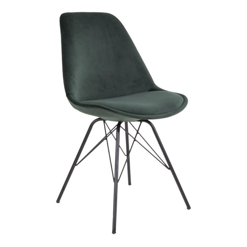 Vincent Spisebordsstol i Grøn Velour og Sort Metal Stel