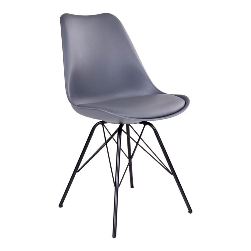 Vincent Spisebordsstol i Grå Formstøbt Plast og Kunstlæder