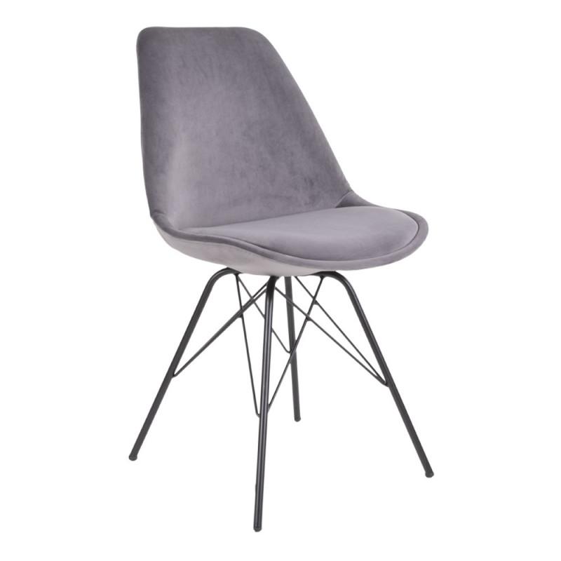 Vincent Spisebordsstol i Grå Velour og Sort Metal Stel