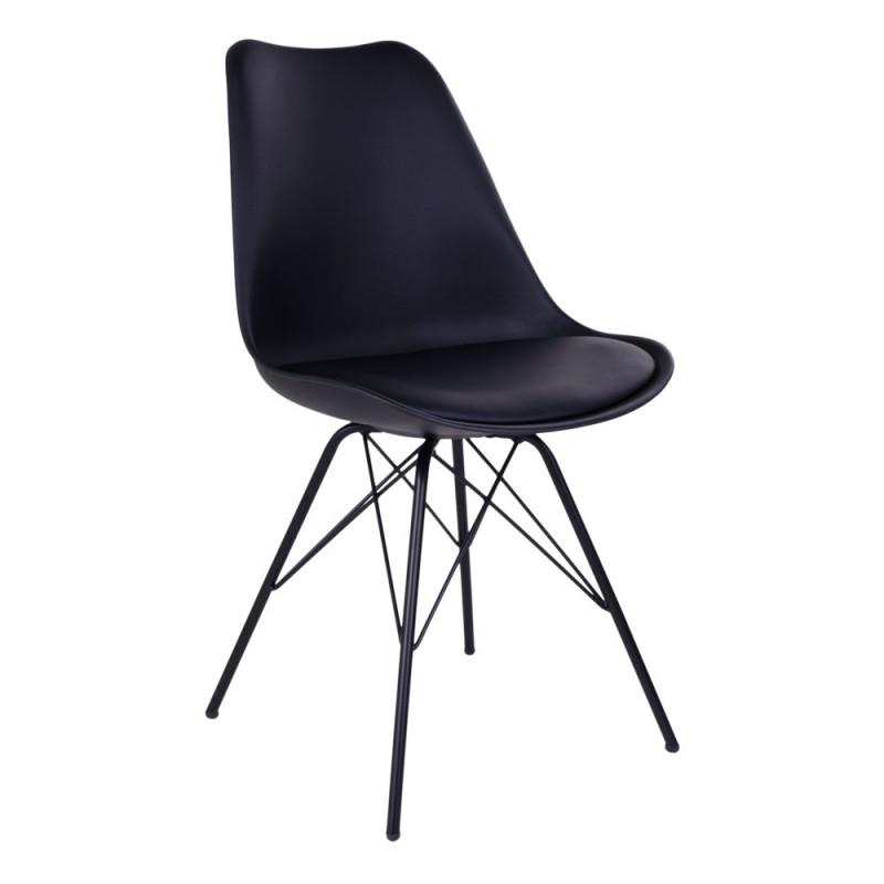 Vincent Spisebordsstol i Sort Formstøbt Plast og Kunstlæder front