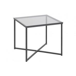 Calvin Kvadratisk Hjørnebord i Glas og Sort Metal