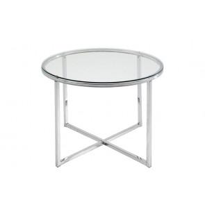 Calvin Rundt Hjørnebord i Glas og Krom ø55