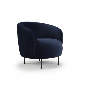 Gran Loungestol Runde Ben Sort Metal. Velour Dark Blue