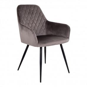Harry Spisebordsstol-Gråbrun Velour-Armlæn