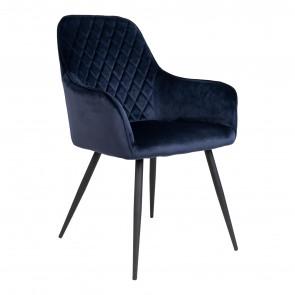 Harry Spisebordsstol-Blå Velour-Med armlæn