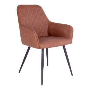 Harry Spisebordsstol - Armlæn - Brun Kunstlæder