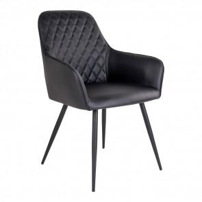 Harry Spisebordsstol - Armlæn - Sort Kunstlæder