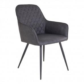 Harry Spisebordsstol - Armlæn - Grå Kunstlæder