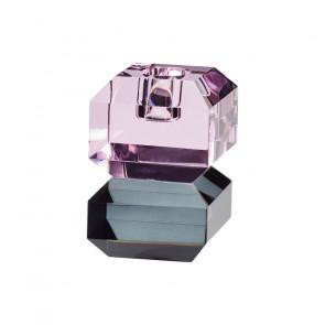Hübsch Lysestage Glas Firkantet Pink og Røgfarvet