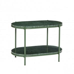 Hübsch Sofabord med hylde-Grøn Marmor