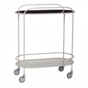 Hubsch Rullebord/Barbord i gråt Metal og glas