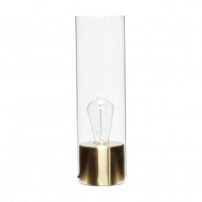 Hübsch Cylinder Bordlampe i Messing og Glas ø12