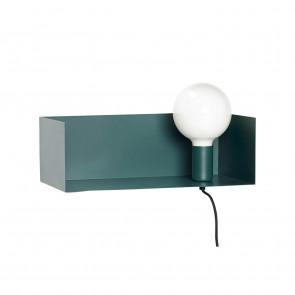 Hubsch Hylde med Væglampe i Grøn Metal
