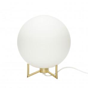 Hubsch Kugleformet Bordlampe i Hvid Opal Glas og Messing