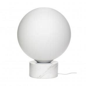 Hubsch Kugleformet Gulvlampe i Hvid Marmor og Glas ø40