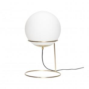 Hubsch Kugleformet Gulvlampe i Messing og Hvidt Glas ø30