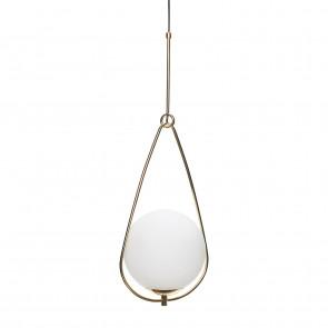 Hubsch Loftslampe i Messing og Hvidt Glas ø30