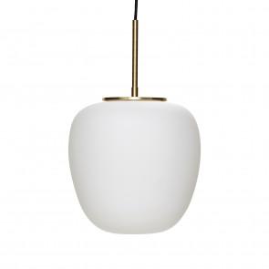 Hubsch Loftslampe i Messing og Hvidt Opalglas