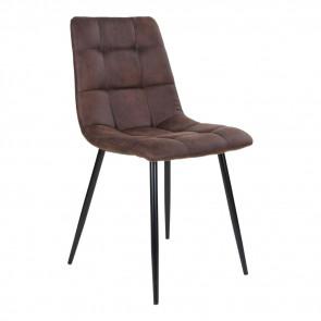 Kansas Spisebordsstol i Mørkebrun Microfiber og Metal Ben