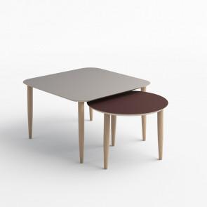 Katrine rundt sofabord med ben i eg (Obs. her vist i nanolaminat )