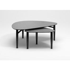 Katrine Trekantet Sofabord med Sorte Træben og Stone-Look Lysgrå