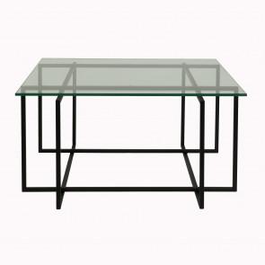 Kvartet Sofabord 80x80 cm glas og sort metal