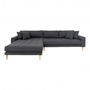 Livorno Chaiselong Sofa Mørkegrå Venstre Vendt