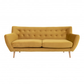 Molly 3 pers Sofa Karrygult Velour - Front