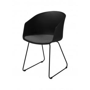 Tuscan Spisebordsstol. Sort med gråt stof sæde.